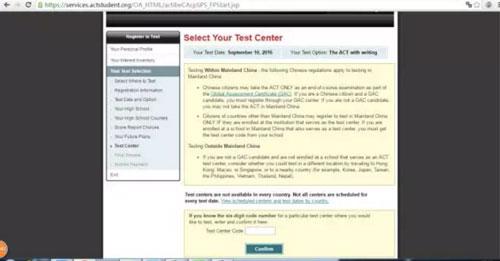ACT考试选择考位流程