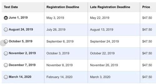 2019年下半年SAT考试时间