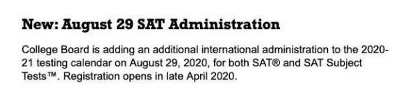 8月SAT增加亚太考试